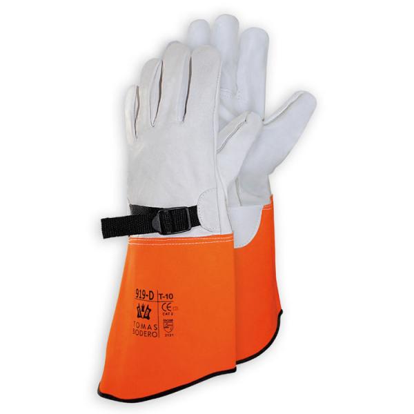 Cubreguante para guantes dieléctricos elaborado en piel de vacuno. Cuenta con hebilla para sujeción.