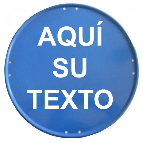 Placa circular azul 50cm personalizada