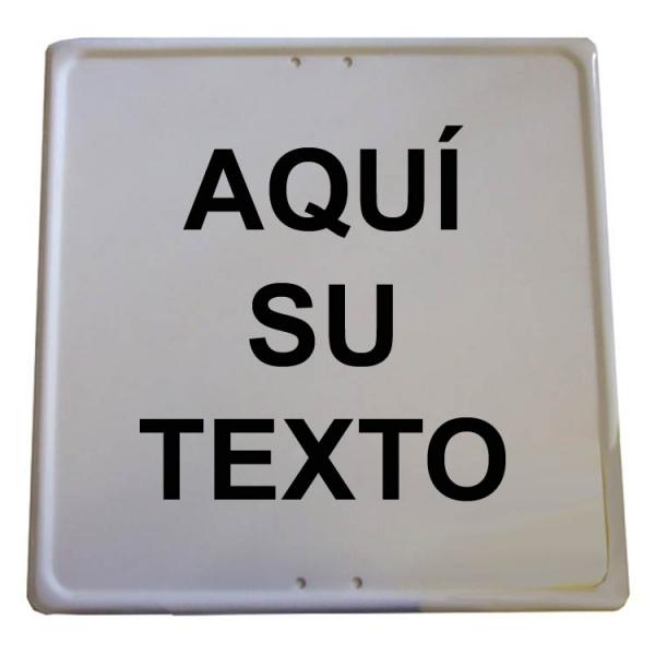 Placa cuadrada personalizable blanca