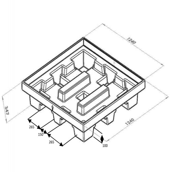 Cubeto de polietileno para 4 bidones 205L