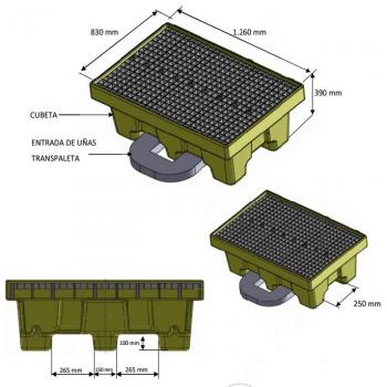 Cubeto de polietileno para 2 bidones 205L595