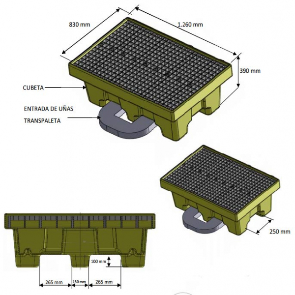 Cubeto de polietileno para 2 bidones 205L