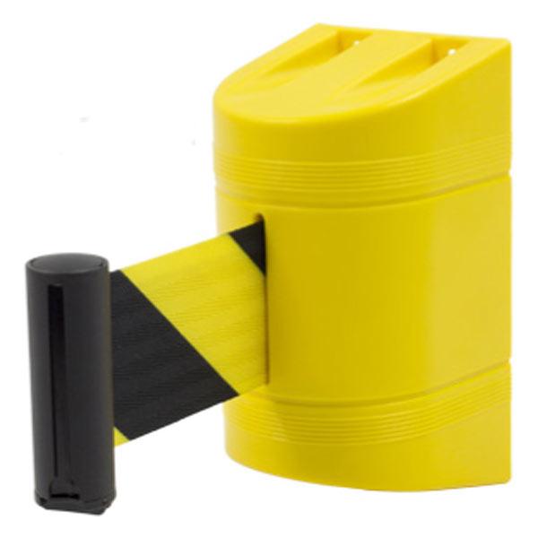 Soporte a pared con cinta retráctil amarilla y negra