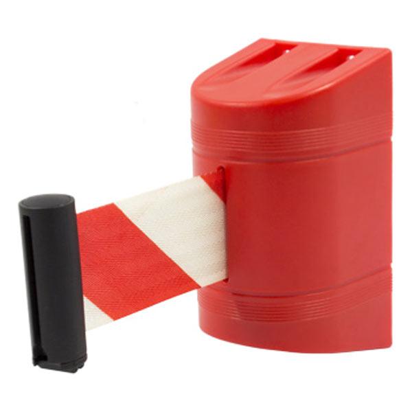 Soporte a pared con cinta retráctil blanca y roja
