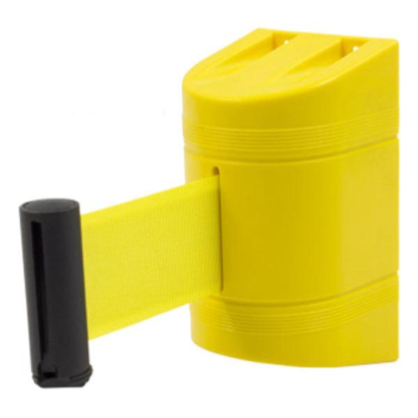 Soporte a pared con cinta retráctil amarilla
