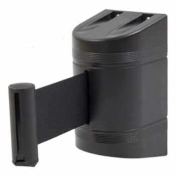 Soporte a pared con cinta retráctil negra