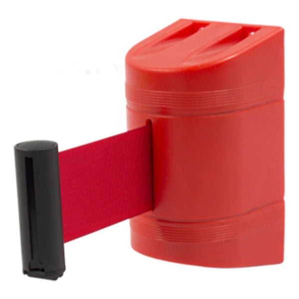 Soporte a pared con cinta retráctil roja