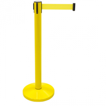 Poste separador con cinta retráctil amarilla