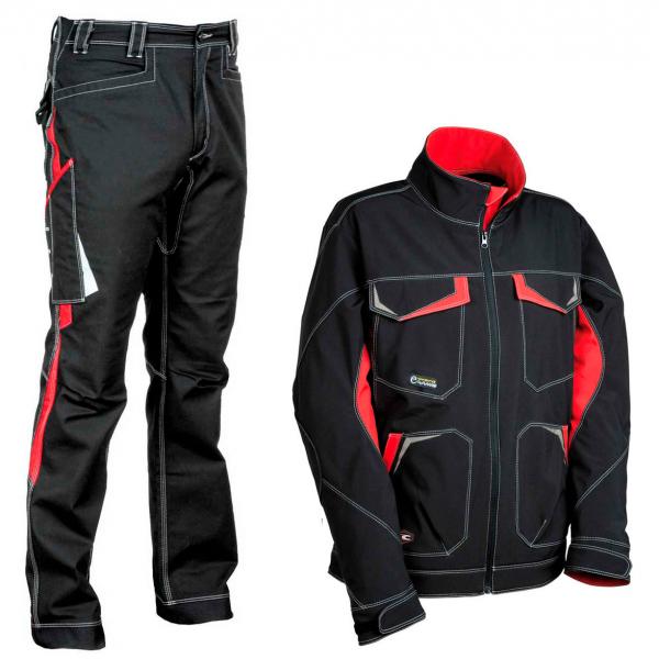 Pantalón y softshell Cofra negro y rojo