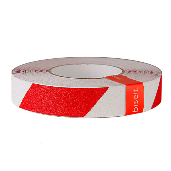 Cinta antideslizante blanca y roja 25mm x 18,3m