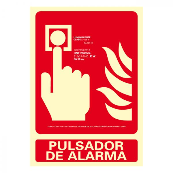 Señal Pulsador de Alarma Clase A 21x30cm