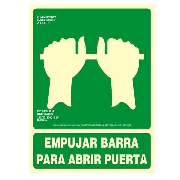 Señal Empujar Barra para Abrir Puerta Clase A 22x30cm