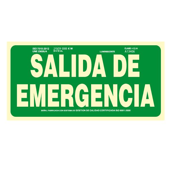 Señal Salida de Emergencia Clase A (Disponible en varios tamaños)