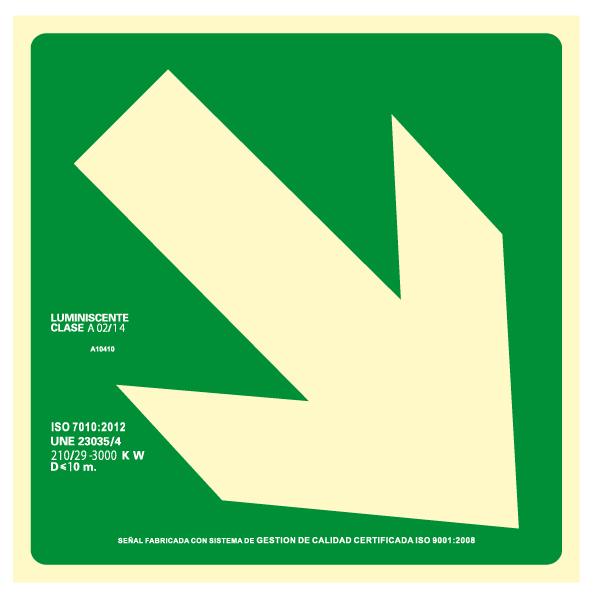 Señal Flecha Diagonal Derecha Clase A (Disponible en varios tamaños)