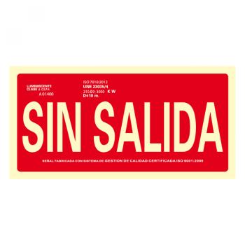 Señal Sin Salida Clase A 30x15cm