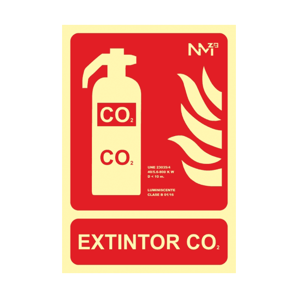 Señal Extintor CO2 Clase A 21x30cm