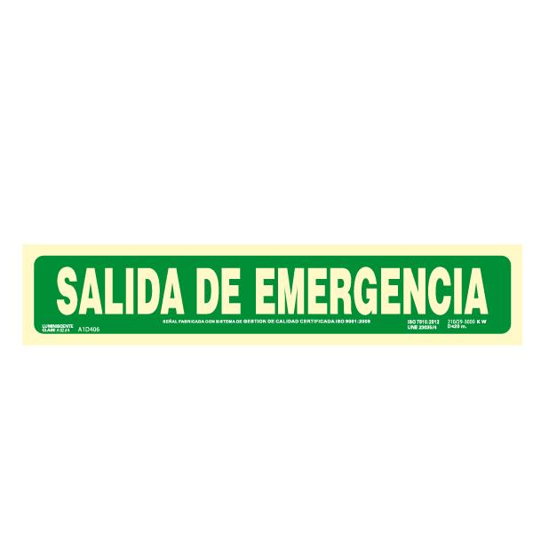 Señal Salida de Emergencia Clase A 105x520mm