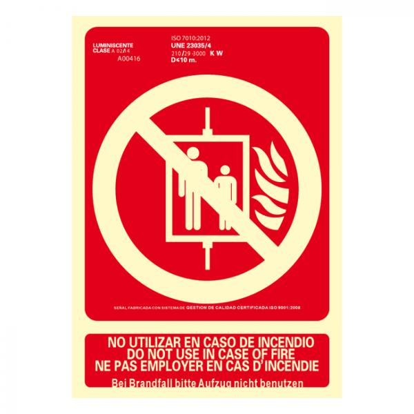 Señal No Utilizar en Caso de Incendio Idiomas Clase A 21x30cm