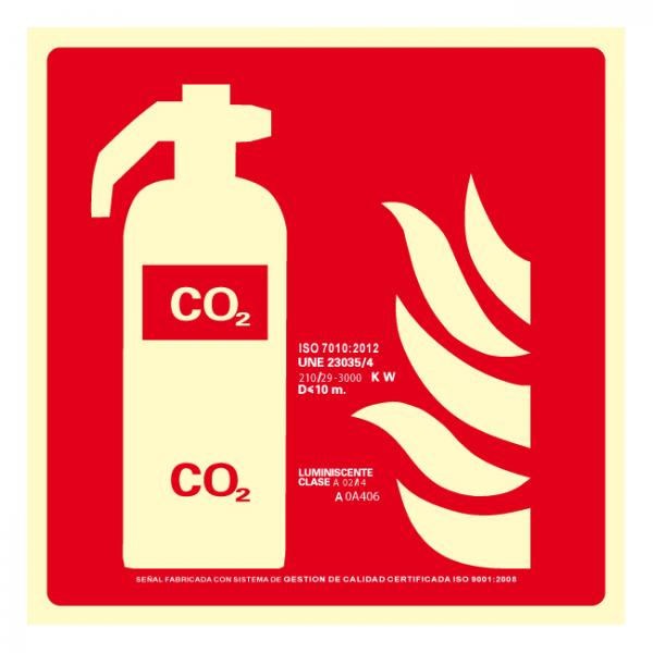 Señal Extintor CO2 Clase A (Disponible en varios tamaños)