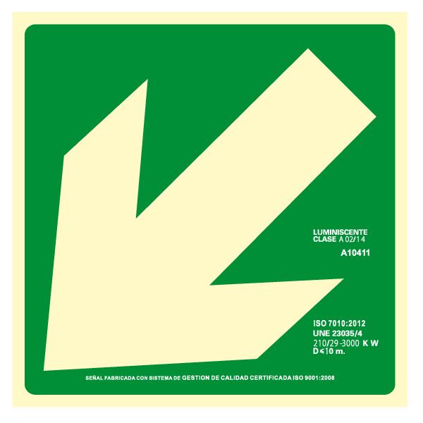 Señal Evacuación Diagonal Izquierda Clase A (Disponible en varios tamaños)