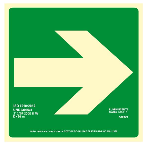 Señal Evacuación Diagonal Derecha Clase A (Disponible en varios tamaños)
