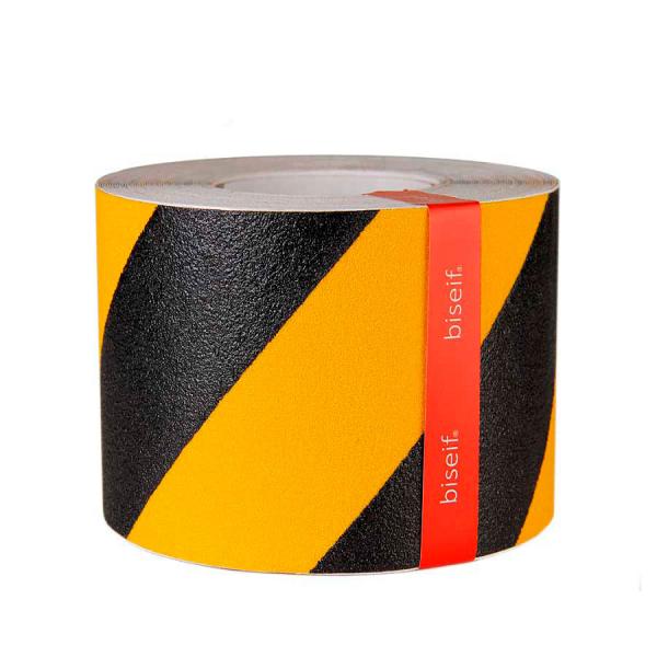 Cinta antideslizante amarilla y negra 100mm x 18,3m