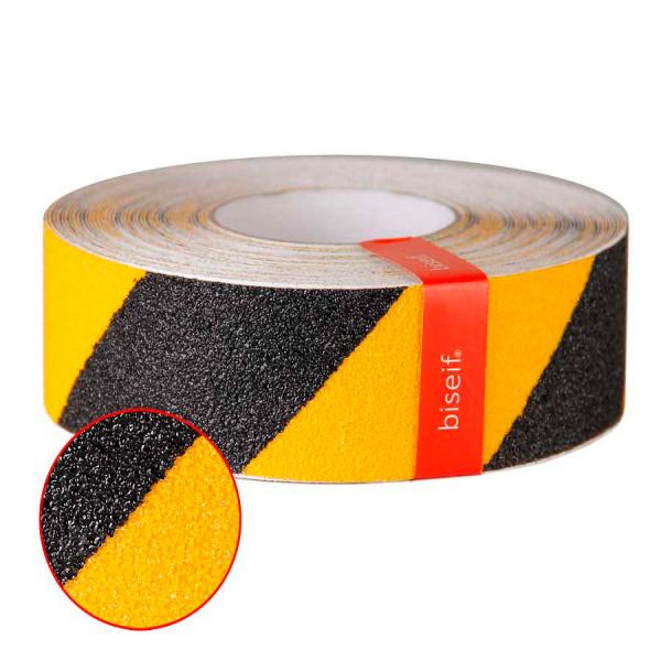 Cinta antideslizante grano grueso amarillo y negro de 50mm x 18,3m