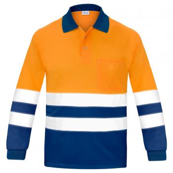 Polo reflectante manga larga naranja y marino