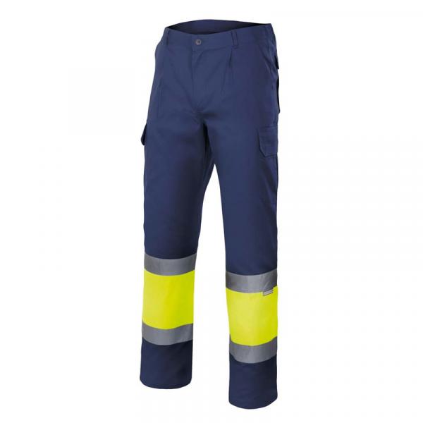 Pantalón de alta visibilidad azul marino y amarillo