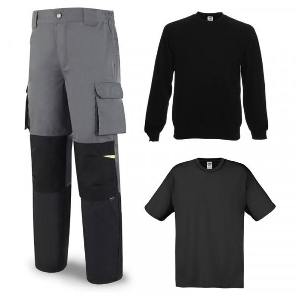 Pantalón reforzado, camiseta y sudadera negra