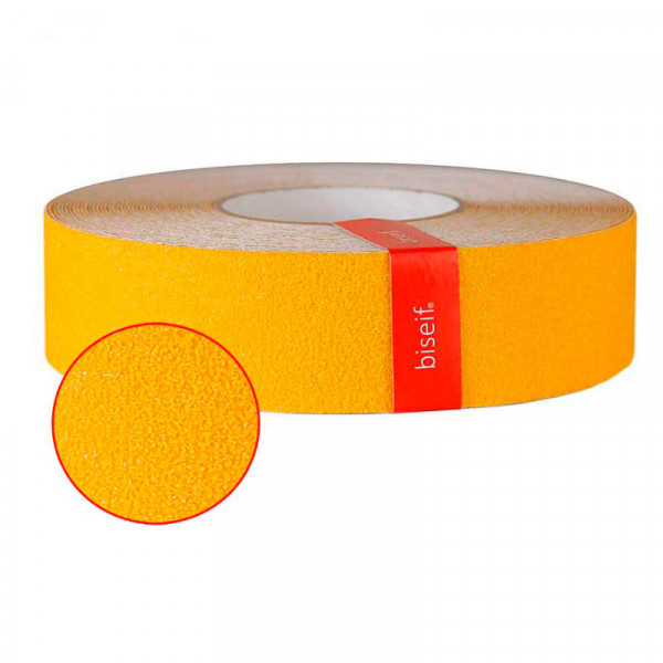 Cinta antideslizante grano grueso amarillo de 50mm x 18,3m