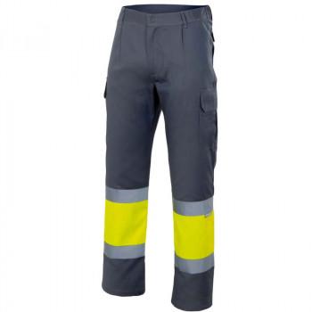 Pantalón de alta visibilidad gris y amarillo