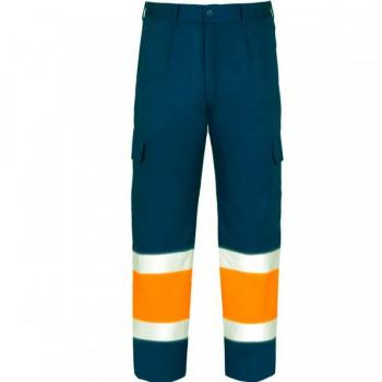 Pantalón de alta visibilidad azul marino y naranja EN20471