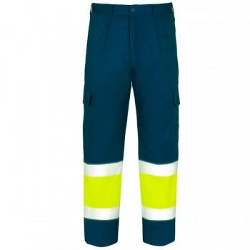 Pantalón de alta visibilidad azul marino y amarillo EN20471
