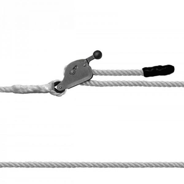 Línea de vida horizontal que incorpora un tensor de cuerda. Es flexible y tiene un fácil montaje. Disponible en dos longitudes.