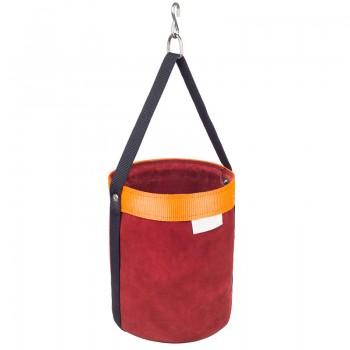 Bolsa de cuero para guardar las herramientas durante los trabajos verticales y de altura. Incluye gancho para colgar.