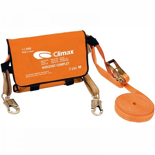 Línea de vida horizontal Climax Complet de 20m de longitud. Incluye conectores giratorios en los extremos.