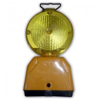 Lámpara de señalización con célula fotoeléctrica y sensor de luz por intensidad. Es posible anclarla a vallas y otros elementos.