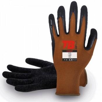 Guante de trabajo de nylon sin costuras y recubrimiento en la palma de látex rugoso.