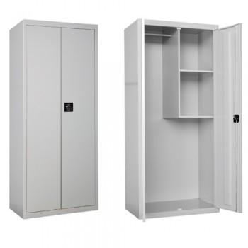 Armario metálico de gran capacidad con dos puertas, cerradura de dos llaves, compartimento para guardar objetos en las baldas