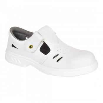 Sandalia con puntera protectora de acero. Este calzado es antiestático y cuenta con una zona de apoyo con absorción de energía.