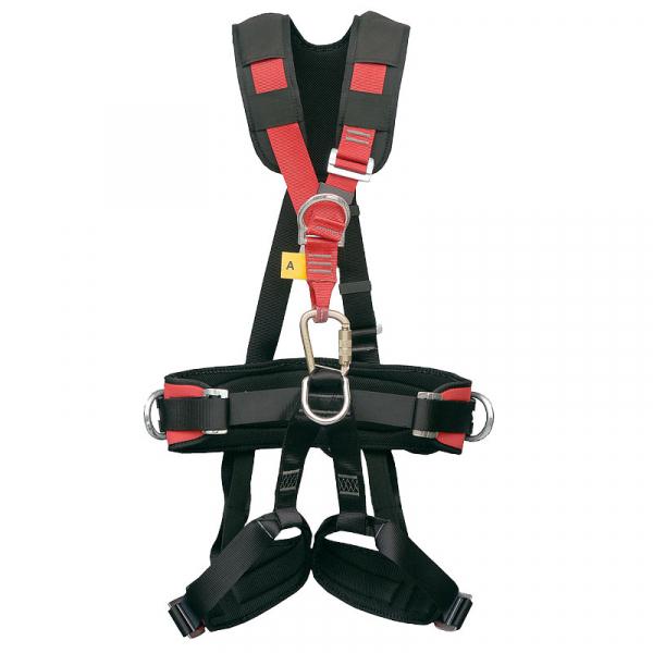 Arnés anticaídas y de suspensión con enganche dorsal y pectoral. Es cómodo e incluye cinturón de posicionamiento.