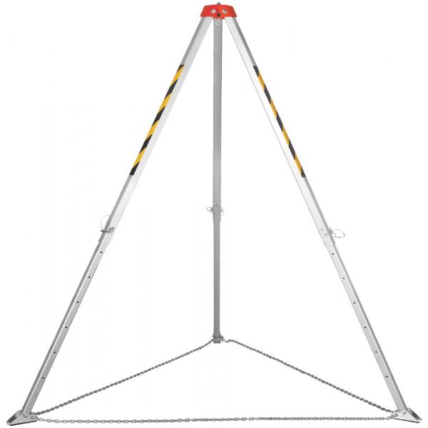 Trípode de aluminio regulable en altura, adecuado para trabajos en espacios confinados.