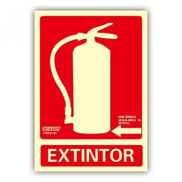"""Señal """"Extintor"""" Flecha Izquierda 21x30cm"""