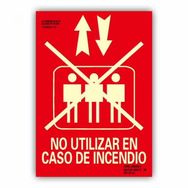 """Señal """"No Utilizar Ascensor en Caso de Incendio"""" 21x30cm"""