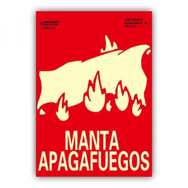 """Señal """"Manta Apagafuegos"""" 21x30cm"""