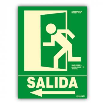 "Señal ""Salida"" Flecha Izquierda 22x30cm"