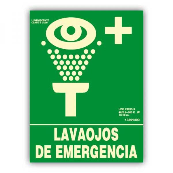"""Señal """"Lavaojos de Emergencia"""" 22x30cm"""