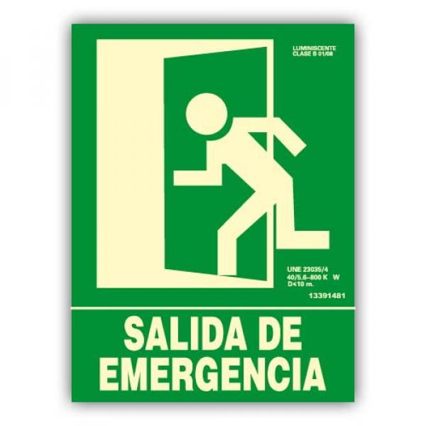 """Señal """"Salida de Emergencia"""" Izquierda 22x30cm"""
