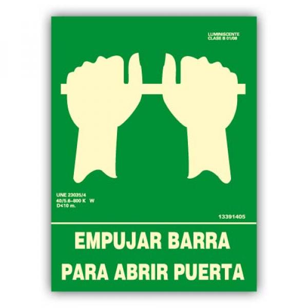 "Señal ""Empujar Barra para Abrir Puerta"" 22x30cm"